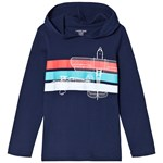 Lands' End Navy Hoodie and Multi Stripe Plane Graphic Hoodie
