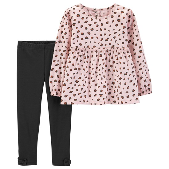 Carter's Pink Animal Print Poplin Set