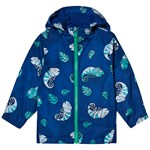 Lands' End Navy Chameleon Print Water Reactive Hooded Rain Coat