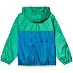 Lands' End Blue and Green Colour Block Waterproof Hooded Rain Jacket