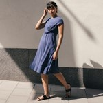 Boob Twist Dress W Cap Sl Vintage Indigo