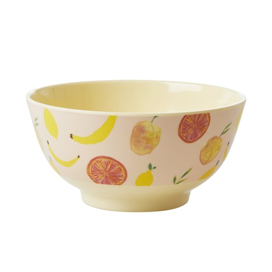 Rice Melamine Bowl with Happy Fruits Print M