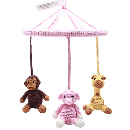natureZOO Circle Mobile, Monkey, Giraffe, Elephant, Light Pink