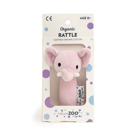 natureZOO Organic Rattle, Elephant, Light Purple