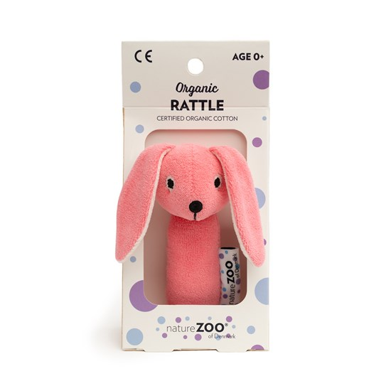 natureZOO Organic Rattle, Rabbit, Pink