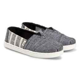 4d21753eff5 Toms Grey and White Striped Alpargata Slip On Strap Trainers