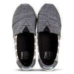 Toms Grey and White Striped Alpargata Slip On Strap Trainers