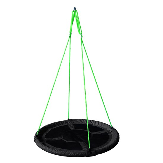 Oliver & Kids Net Swing round 110 cm Black w. Green Rope