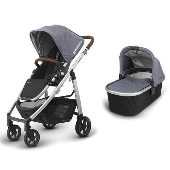 UPPAbaby Paket CRUZ 2018 Barnvagn Gregory Blue + VISTA/CRUZ 2018 Liggdel Gregory Blue Melange