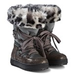 Naturino Bronze Floral and Nylon Avila Tall Faux Fur Snow Boots