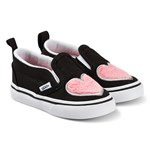 Vans Black with Fun Heart Slip On Infants Shoes