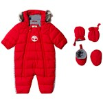 Timberland Red Water Repellent Snowsuit with Mittens and Booties