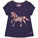 Joules Navy Reversible Sequin Horse Applique Astra T-shirt