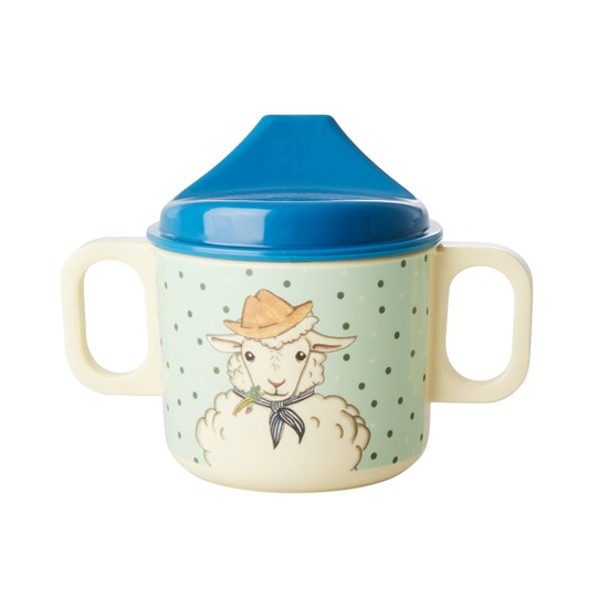 Rice Melamine Baby 2 Handle Cup with Farm Animals Print - Green