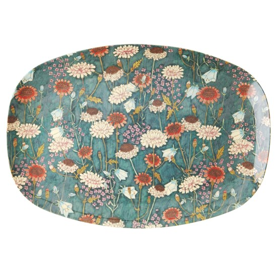 Rice Rectangular Melamine Plate with Fall Flower Print