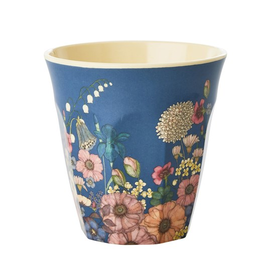 Rice Melamine Cup with Flower Collage Print Medium