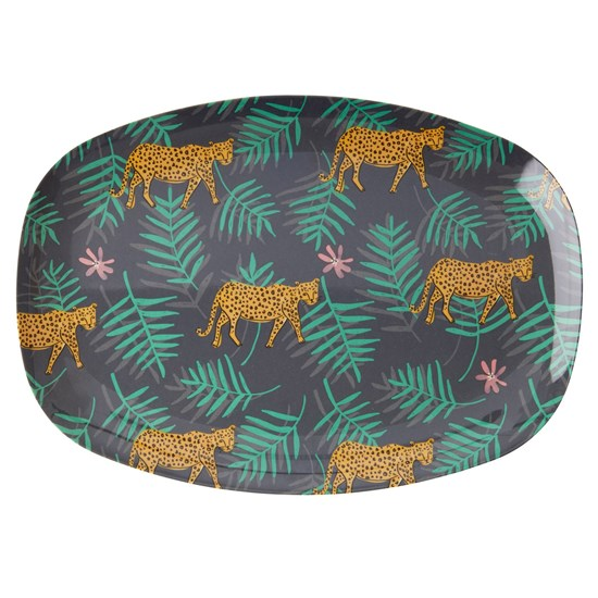 Rice Rectangular Melamine Plate with Leopard and Leaves Print