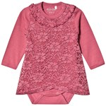 Minymo Body Dress LS With Lace Rose Wine
