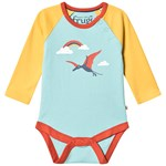 Frugi Blue and Yellow Organic Raglan Dinosaur Print Body