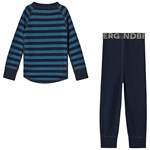 Lindberg Stripe Merino Set Navy Blue