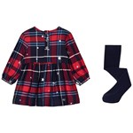 Joules Red & Navy Check Infants Macy Dress & Bottoms Set