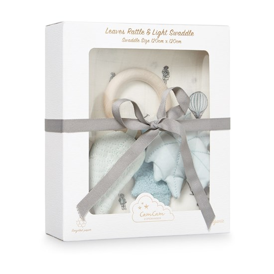 Cam Cam Gift Box w Printed Swaddle and Leaves Rattle  Holiday