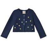 Frugi Navy Organic Knitted Cardigan with Embroidered Gold Stars