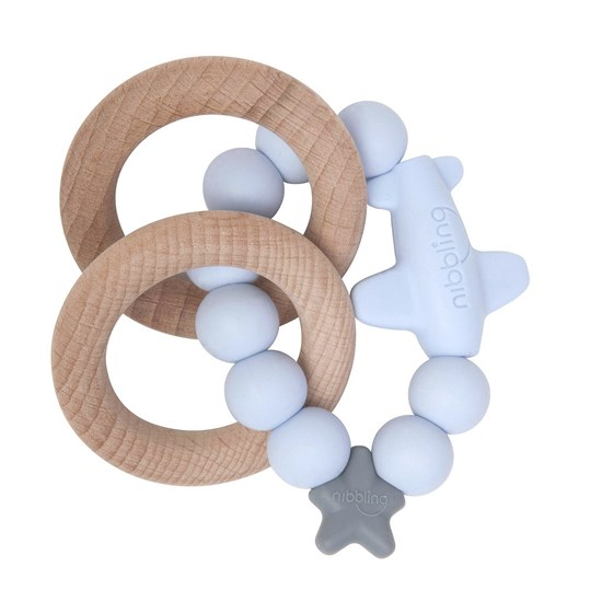 Nibbling Jet Rattle Ring Blue