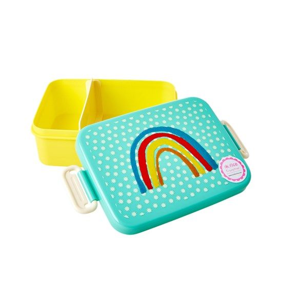 Rice Lunchbox with Divider Rainbow and Stars Print L