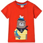 Frugi Red Organic Short Sleeve T Shirt with an Otter Appliqué