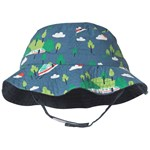 Frugi Organic Reversible Hat in Chambray and Train Print