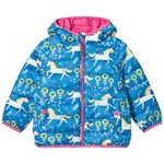 Frugi Blue Recycled Pack Away Coat in Unicorn Print