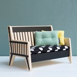 Littlephant Doll House furniture - Sofa with cushions - Black