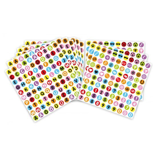 Playbox Stickers for Beads, Letters, Numbers and Symbols, 10 sheets, 1000pcs