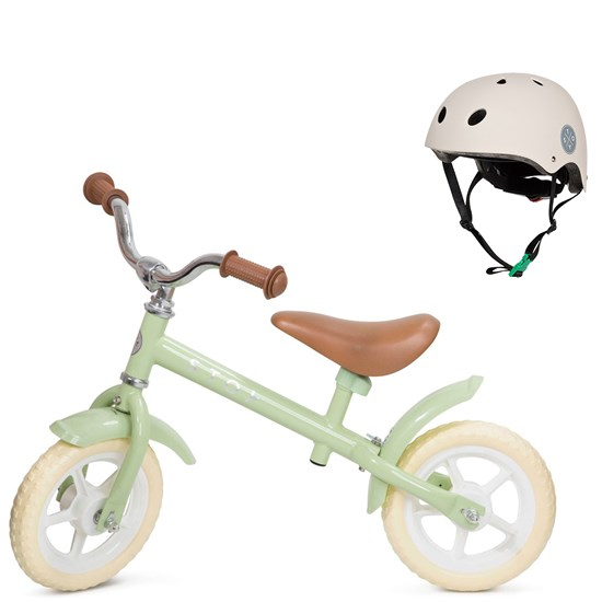 Balance Bike 10 Vintage and Helmet Pear/Beige