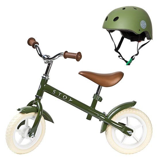 Balance Bike 10 Vintage and Helmet Army Green