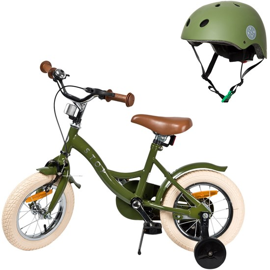 Bicycle 12 Vintage and Helmet Army Green