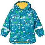 Frugi Blue Nessie Print Recycled Waterproof Puddle Buster Coat