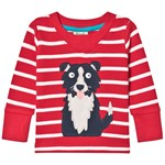 Frugi Red Stripe Sheepdog Appliqué GOTS Organic Long Sleeve Top