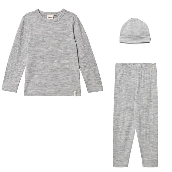 Kuling Wool Shirt L/S, Wool Pants and Wool Hat Grey Melange
