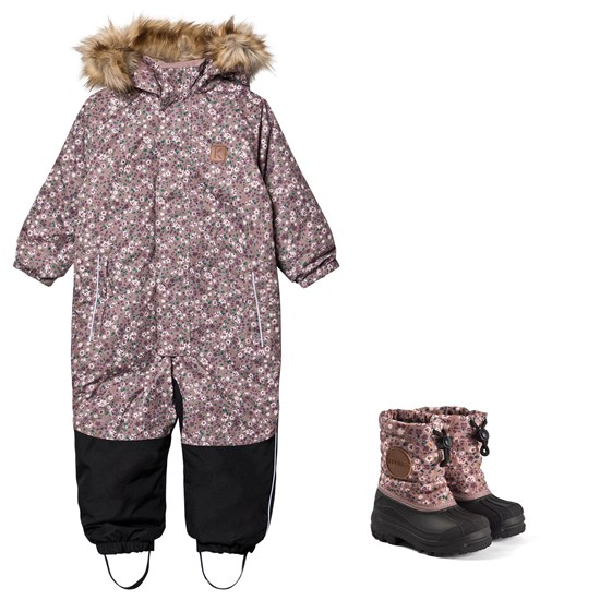 Kuling Chamonix Winter Coverall and Winter Boots Lilac Flowers