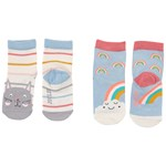Joules Pack of 2 Blue Cat Rainbow Neat Feet Infants Socks