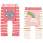 Joules Pack of 2 Pink Cat Rainbow Lively Knit Infants Leggings