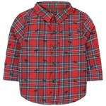 Hatley Red Holiday Plaid Moose Button Down Shirt