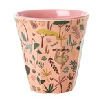 Rice Melamine Cup with Coral All Over Jungle Animals Print Two Tone  Medium