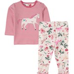 Joules Pink and White Unicorn Print Poppy Top and Trouser Set