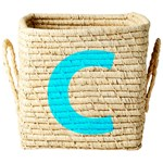 Rice Raffia Square Basket with Painted Letter C